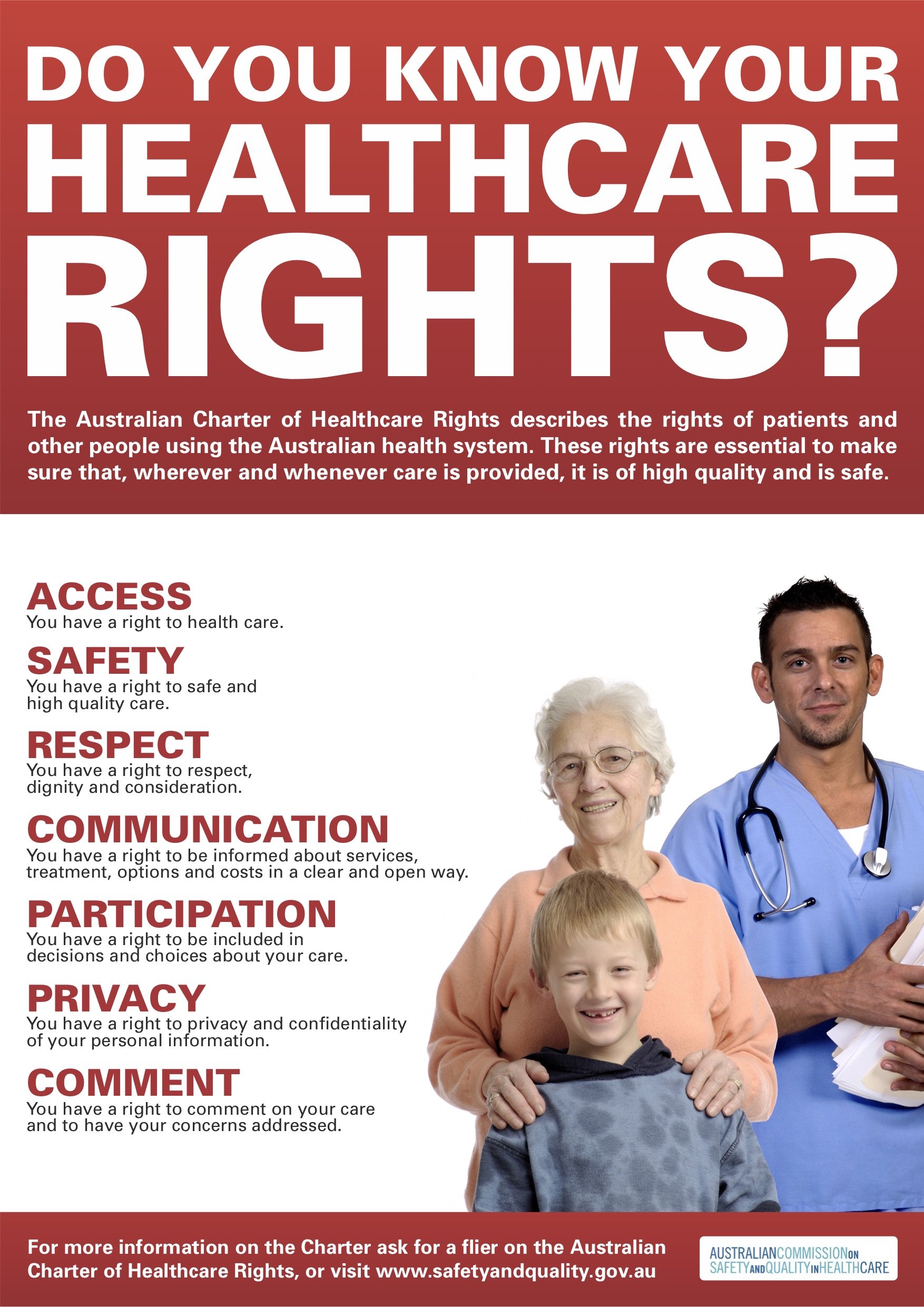 Australian Charter of Healthcare Rights A3 poster PDF 1781 KB